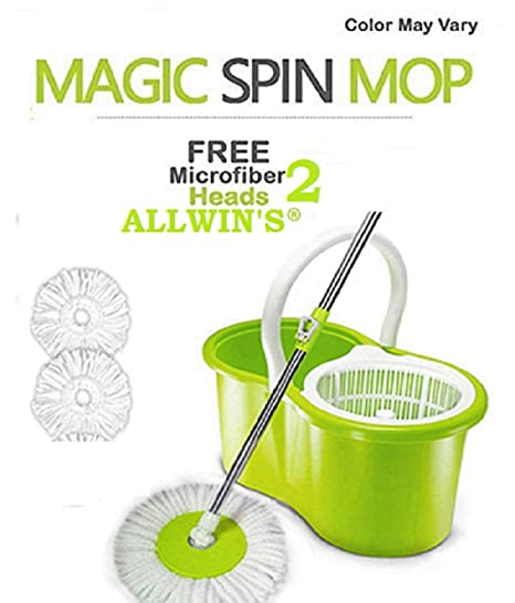 ALLWIN Home Cleaning 360� Spin Floor Cleaning Easy Advance Tech Bucket PVC Mop & Rotating Steel Pole Head with Microfiber Refill Head