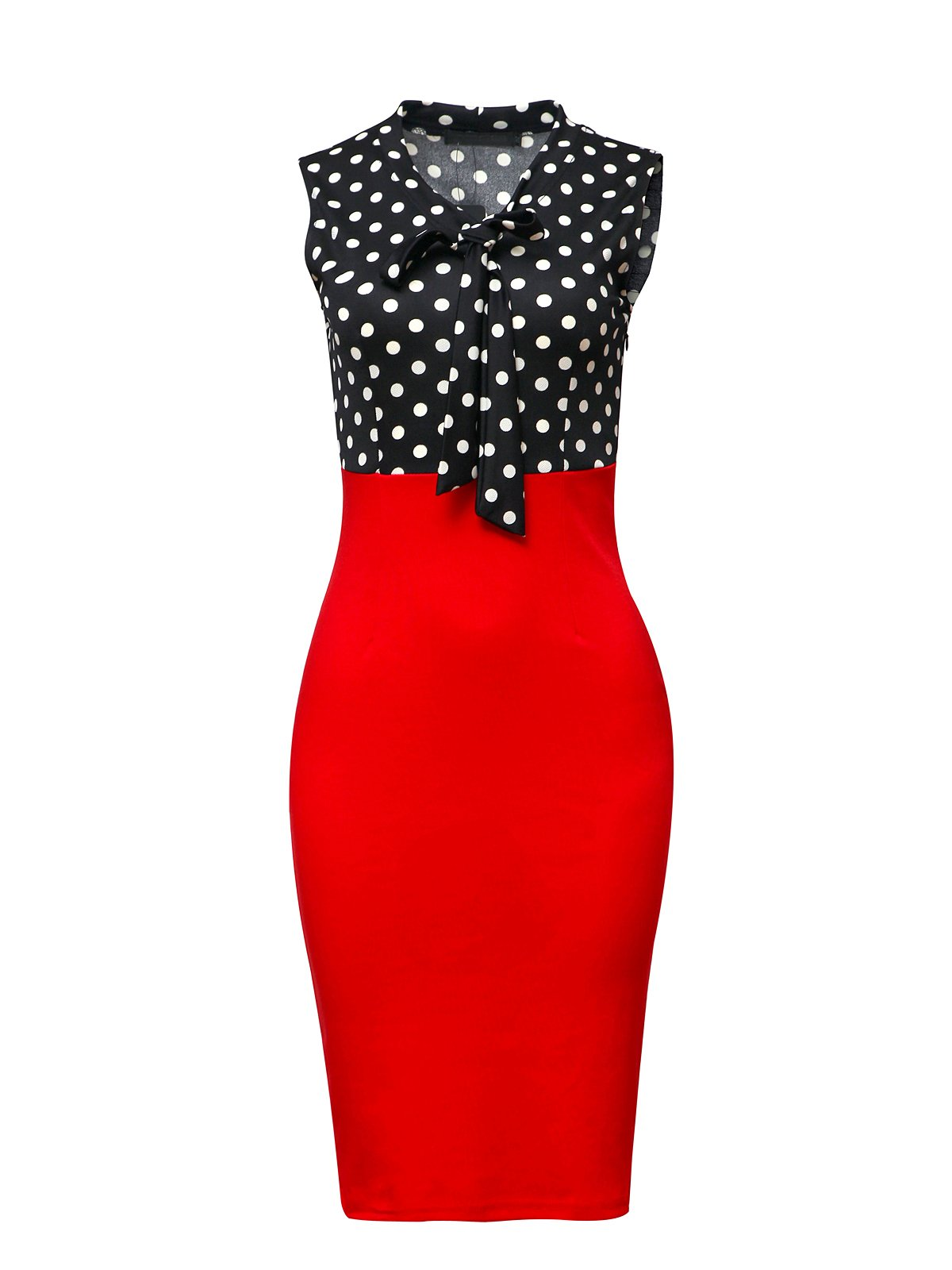 CISMARK Chic Color block V Neck Sleeveless Business Pencil Dress Red Red S