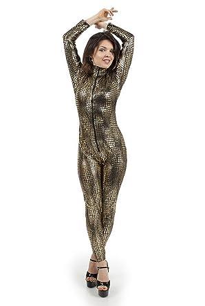 671d0e3f75e I-Glam Sexy Fetish Gothic Zipper Snake SKin Print Lame Catsuit   Amazon.co.uk  Clothing