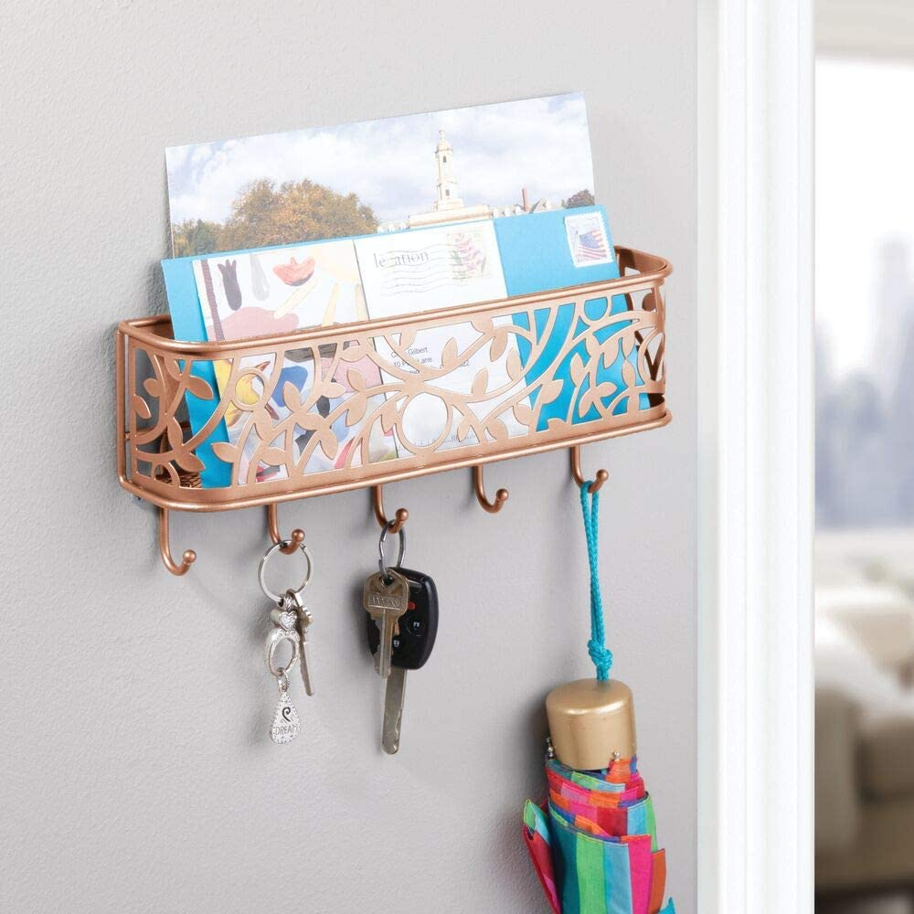 Office Coat Letter Leash and Key Holder for Entryway Kitchen Copper Hallway Magazine Mudroom mDesign Wall Mount Metal Entryway Storage Organizer Mail Sorter Basket with 5 Hooks