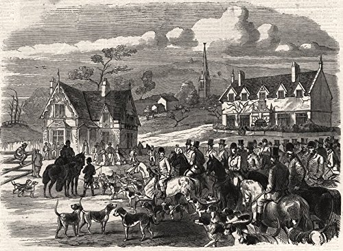 Opening meet of the Quorn Hounds at Kirby Gate, Leicestershire - 1863 - old print - antique print - vintage print - printed prints of Leicestershire - Quorn Hounds