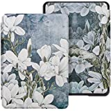 WALNEW Case Fits Kindle Paperwhite 10th Generation 2018 PU Leather Case Smart Protective Cover (Not fit Kindle Paperwhite Prior to 2018) (A-White Flower)