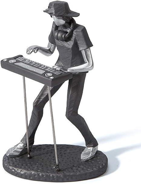 Amoy-Art Figurillas Decorativas Música Estatuilla Teclado Musical Rock Band Regalos de Piano para el Hogar Souvenirs Resina 24.5cmH