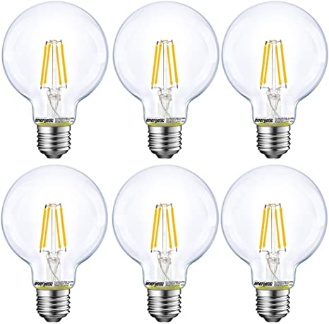 Energetic Lighting Dimmable Led Edison Light Bulb G25 G80 Globe Bulb 60w Equivalent 5000k Daylight Christmas Light E26 Standard Base Ul Listed 6 Pack Amazon Com