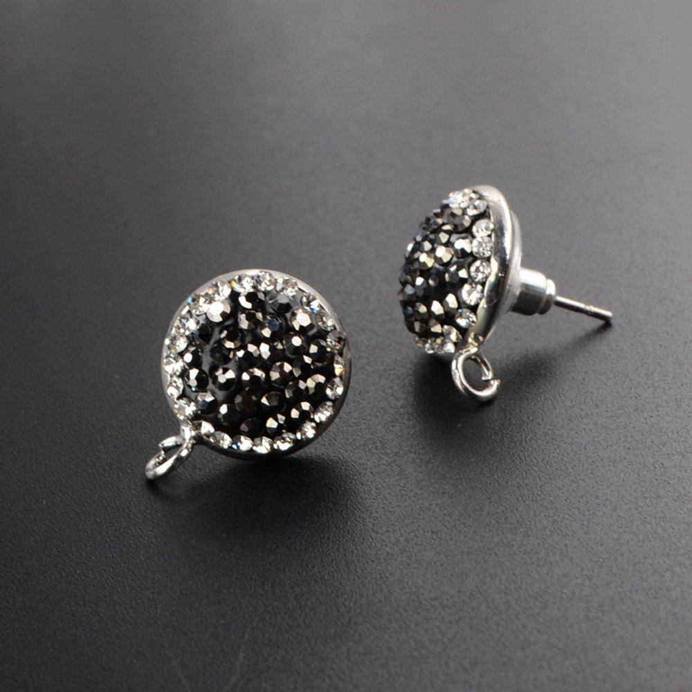 JAB 1 Pair 14mm Round CZ Diamond Micro Stud Earings DIY Fashion Jewelry Post Back Finding