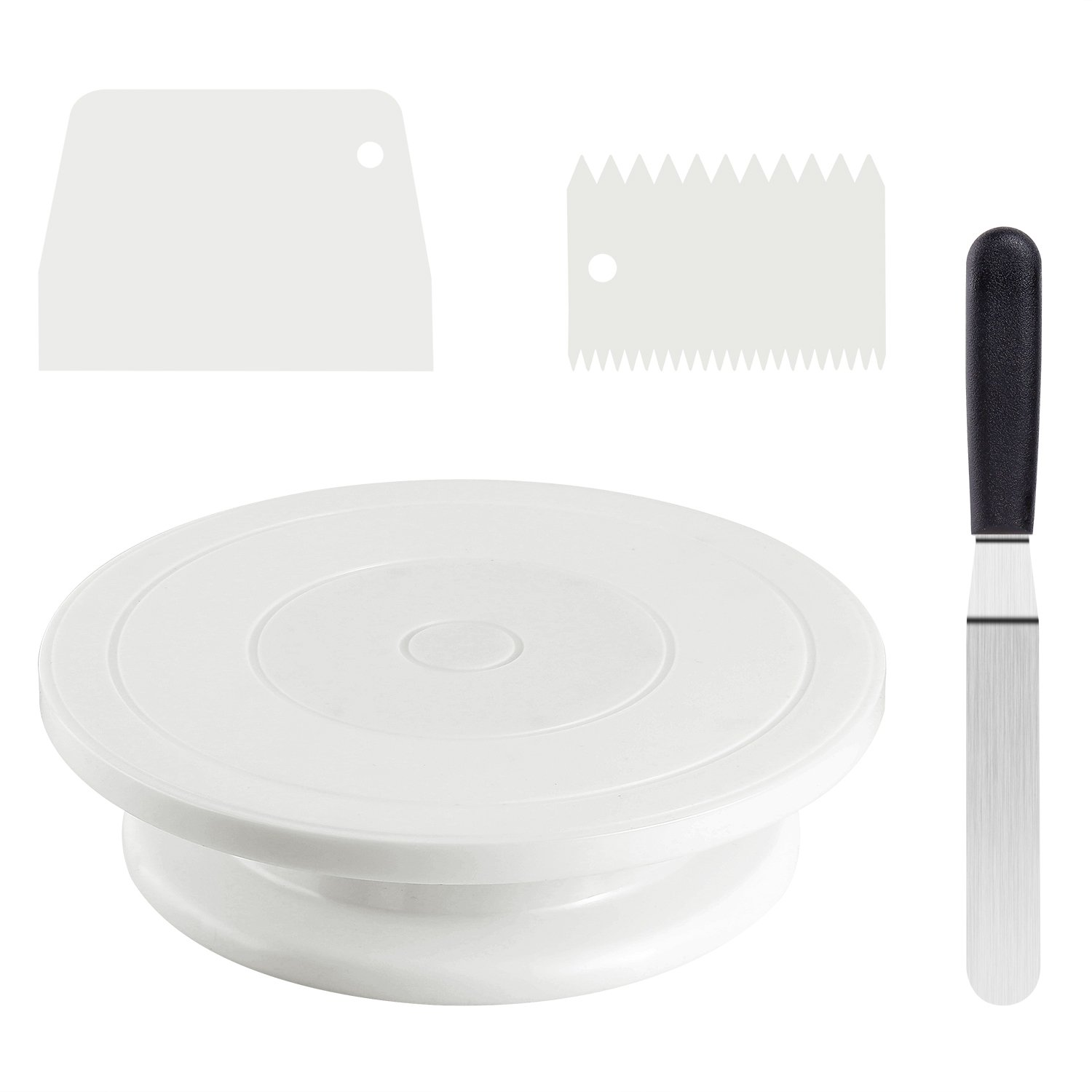 Cake Stand, Ohuhu 11'' Decorating Cake Turntable Revolving Rotating Cake Stand with Angled Icing Spatula and Comb Smoother for Baking Kit Supplies