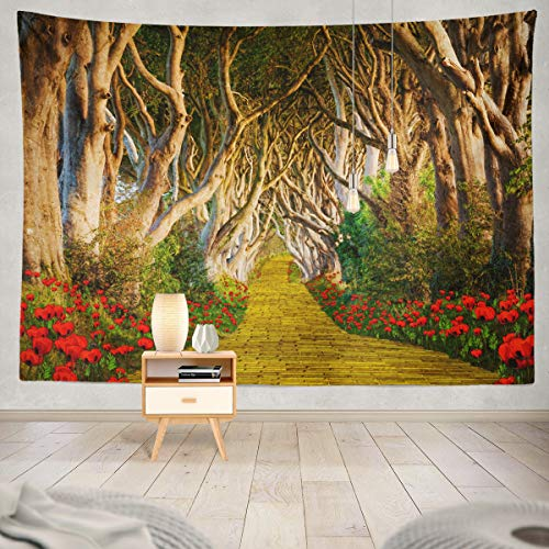 Soopat Tapestry Polyester Fabric Yellow Brick Road Scary Forest Dark Red Flowers Wall Hanging Tapestry Decorations for Bedroom Living Room Dorm 80X60 inch