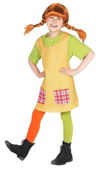 057c7af7eca16 Pippi Calzelunghe Costume per bambina - 98-104 cm  Amazon.it  Giochi e  giocattoli