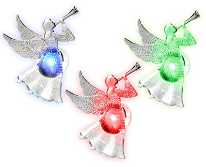 Christmas Angels.Banberry Designs Christmas Window Decoration Set Of 3 Color Changing Suction Cup Acrylic Angels Xmas Angels Playing A Horn Suction Cup Christmas