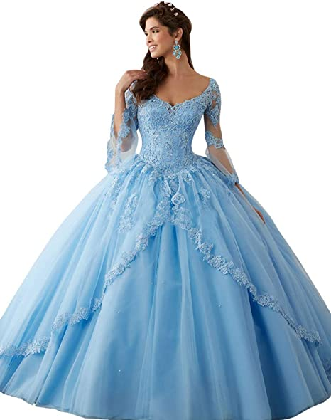 Annadress Women\u0027s Long Sleeve Lace Quinceanera Dresses Train V,Neck Ball  Gown