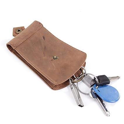 Llavero compacto de piel para hombre, cartera para llaves de ...