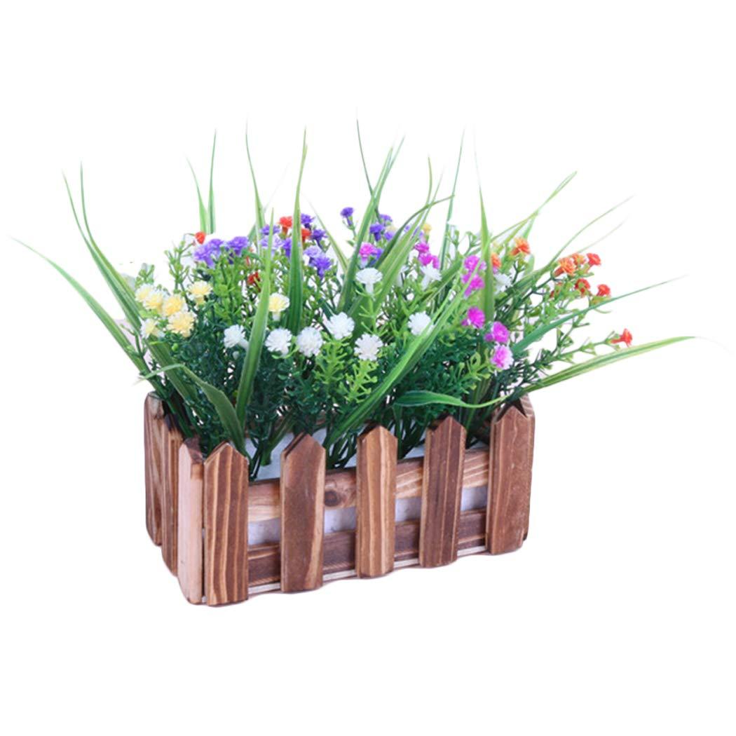 Justdolife オフィス人工植物ファッション クリエイティブなフェイクフラワー フェイクプラント フェンス付き ブラウン 3010YLNMTJNG940AFAT B07H4DXBM5 ブラウン