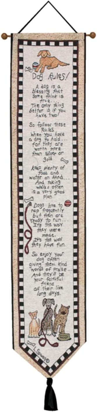 Whimsical Your True Nature Dog Rules Wall Hanging Tapestry 41 x 9