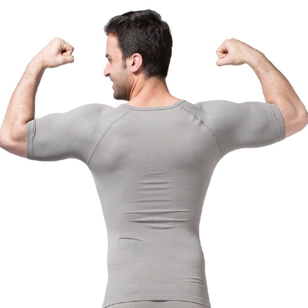 Bakerdani Mens Short Sleeves Flexible Slimming V-neck Undershirt