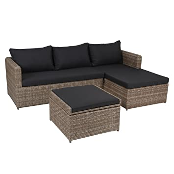 Greemotion Rattan Lounge Set Louisville Gartenmöbel 3 Teilig In Braun  Auflagen In Anthrazit Grau