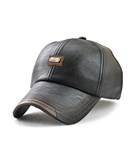 Wiemoon 1pcs 56-60cm Gorras de Béisbol para Hombre Sombrero de Invierno Sombrero de Cuero de La PU Hueso Equipado Negro