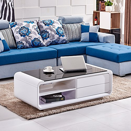Tempered Glass Coffee Table With Drawers: Tason White High Gloss Coffee Table With Black Tempered