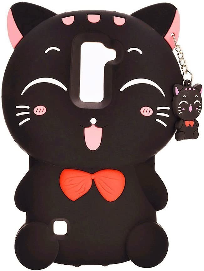 Fortune Cat LG K7 Case,LG K8 Case,LG Tribute 5 Case,LG Escape 3 Case,LG Phoenix 2 Case,Awin 3D Lucky Fortune Cat with Cute Bow Tie Soft Silicone Rubber Case (Black Fortune Cat)
