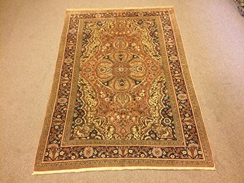 4.11x7 Feet Medallion Design Green Orange And Brown Room Size Village Rug Vintage Rug Handmade Carpet Handmade Rug Kitchen Rug Living Room Bedroom Rug.Code:K603