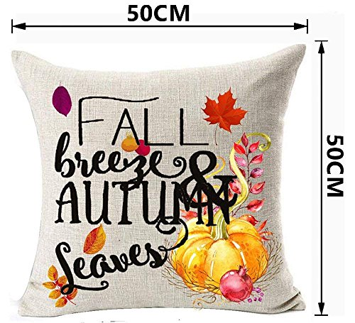 Breeze Bikini - Doormat bikini Holiday Maple Leaf Pumpkin Happy Thanksgiving Fall Breeze And Autumn Leaves Happy Fall Y'all Cotton Linen Decorative Home Office Throw Pillow Case Cushion Cover Square 18 x 18 Inches