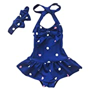 Jastore Baby Girls Swimwear One Piece Swimsuits Beach Wear with Headband (6-12 Months, Blue)