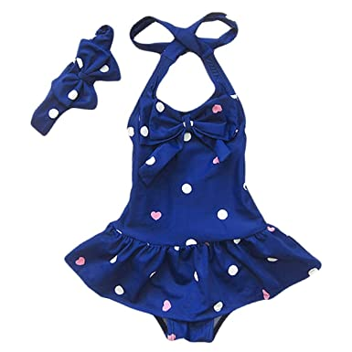 16e77b729bfe6 Jastore Baby Girls Swimwear One Piece Swimsuits Beach Wear with Headband  (2-3 Years