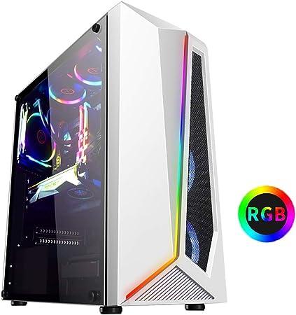 XZ15 Caja de la computadora de Juego: Torre Central, Ventilador ATX / 6x120mm / USB3.0, Luces de Colores RGB y Paneles Laterales de Vidrio Templado, Blanco (Color : White): Amazon.es: Hogar