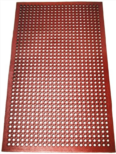 New Star 1 pc Heavy Duty Red 36x60 inch Restaurant / Bar Grease Resistant Rubber Floor Mat