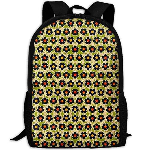 (DKFDS Backpacks Black Patterned Flowers Fabric (2134) School Rucksack College Bookbag Unisex Travel Backpack Laptop)