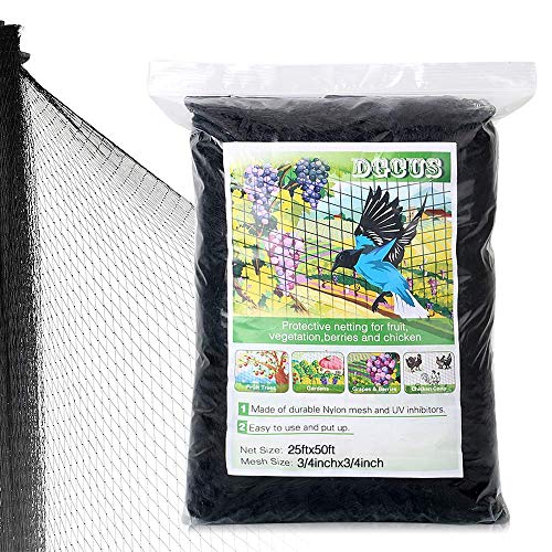 OGORI 25 X 50 ft Bird Netting Poultry Netting Protect Plants and Fruit Trees Garden Net 3/4