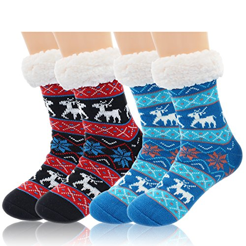 Socks Thermal Womens (2 Pairs Women's Winter Fleece Lined Thermal Fuzzy Christmas Slipper Socks With Grippers)