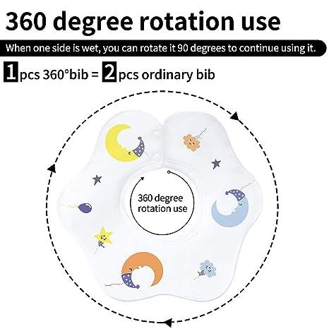 Gudodle 360 Rotate Bandana Drool L/ätzchen Absorbent Baby Zahnen Bei/ßl/ätzchen f/ür Jungen und M/ädchen 4er PackZahnen