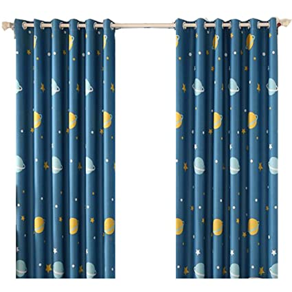 ZWB Space Planets Blackout Curtain Stars Anti-Noise Grommet Process Thermal  Insulated Panels Children Bedroom Blackout Curtains 1 Panel W40 x L63 Inch