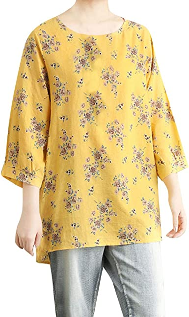 Casual Camiseta 3/4 Manga Ropa De Mujer Blusa Larga Algodon Y ...