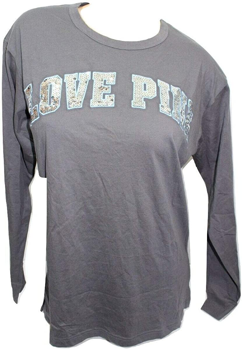 Victorias Secret PINK Bling Sequin Long Sleeve Oversized Campus T-Shirt  Ombre