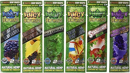 12 Total Natural Juicy Jays Hemp Wraps Variety Pack Bundle Mixed Flavors (6 Packs of 2) Made of Pure Hemp Non Tobacco + Limited Beamer Smoke Sticker