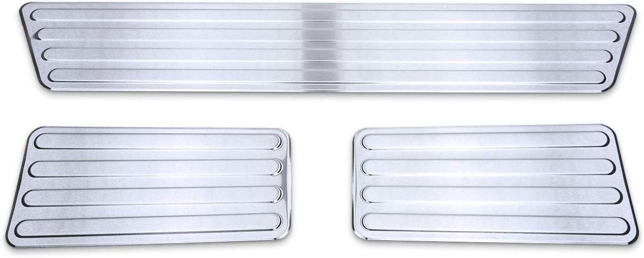 Farbe:Silber tuning-art XF514-2 3-teiliges Edelstahl Einstiegsleisten Set