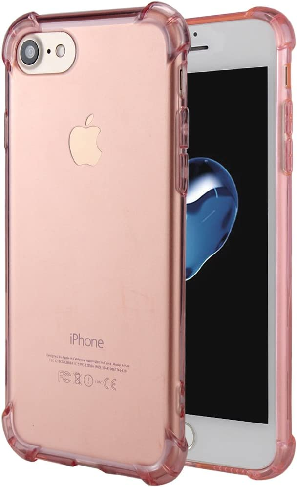 Matone for iPhone SE 2020 Case, for iPhone 7 Case, for iPhone 8 Case, Crystal Clear Shock Absorption Technology Bumper Soft TPU Cover Case for iPhone SE(2nd Gen)/iPhone 7/iPhone 8 - Clear Pink