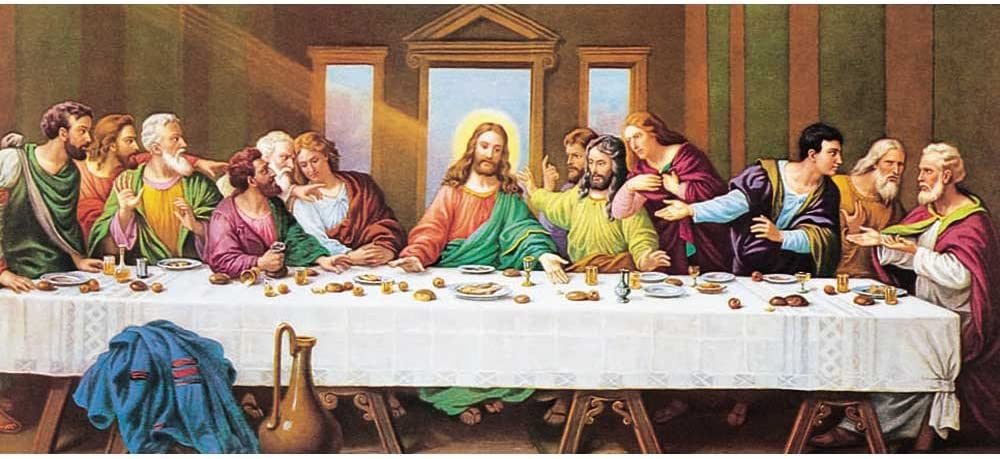 Dicksons The Last Supper Bright Robes with Golden Ray 14 x 30 Wood Wall Sign Plaque