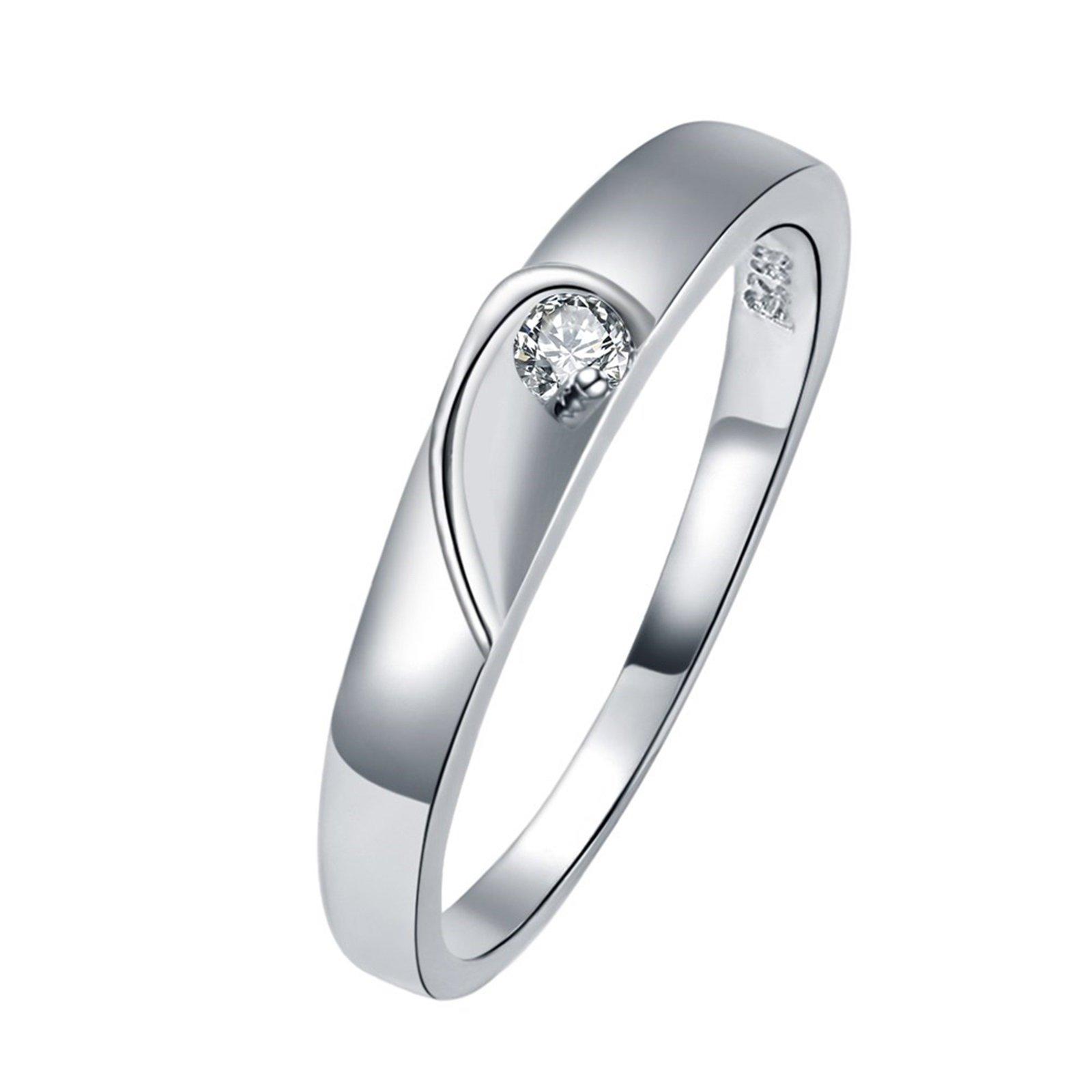 Epinki Silver Ring, Women's Wedding Bands White Cubic Zirconia Half Heart Ring Size 10 Men Accessories