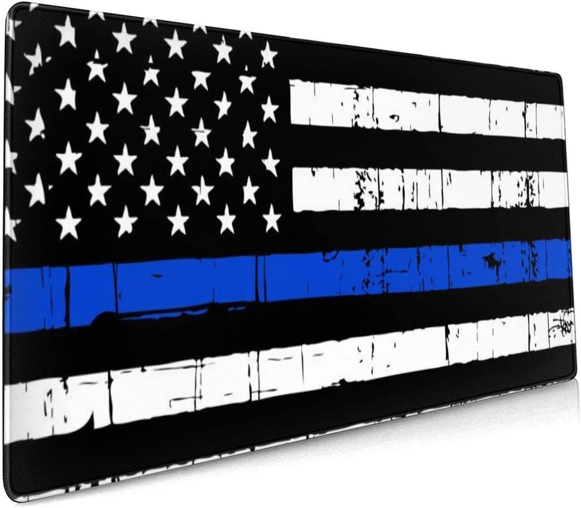 Thin Blue Line American Flag Extended Gaming Mouse Pad- Stitched Edges 35.4x15.7 in,XXL Office /& Home Non-Slip Rubber Base Professional Desk Mat for Gamer Waterproof Keyboard Pad