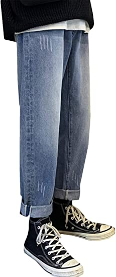 [BSCOOL]ジーンズ メンズ デニムパンツ ワイド ロング丈 ストレートパンツ デニム ファッション ジーパン オシャレ 無地 Gパン 通学 シンプル ズボン ストレッチ
