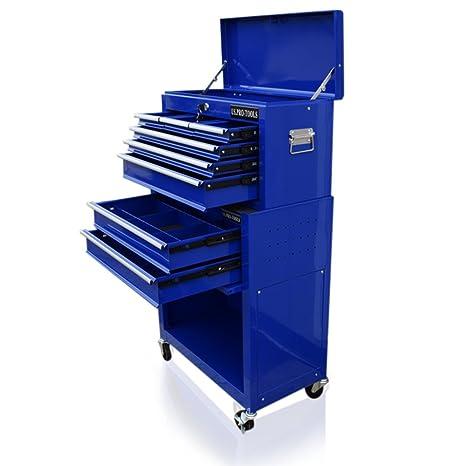 US Pro Tools - Carro de herramientas de precio asequible, azul, con cajones separados