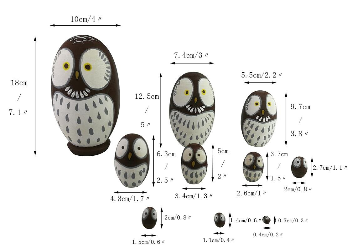 Adorable Lovely Animal Theme Big Round Eyes Brown Wise Owl Egg Shape Wooden Handmade Nesting Dolls Matryoshka Dolls Set 10 Pieces for Kids Toy Birthday Home Kids Room Decoration by Winterworm (Image #5)