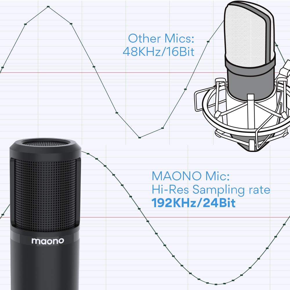Streaming Gaming USB Microphone 25mm Large Diaphragm MAONO PM430 Cardioid Condenser Podcast Mic with Professional Sound Chipset for Studio//Home Recording Chatting YouTube