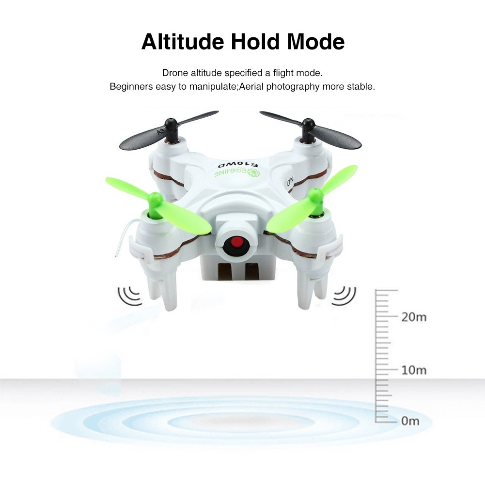 EACHINE E10WD Mini Wifi FPV Quadcopter with Camera 2.4G 4CH 6-axis Altitude Mode RC Nano Quadcopter Drone RTF Mode 2