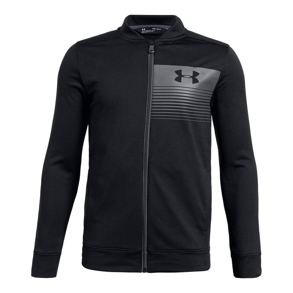 Under Armour Boys Novelty Pennant Jacket, Black (001)/Graphite, Youth Large by Under Armour