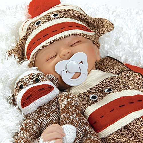 (Paradise Galleries Reborn Baby Doll That Looks Real Sock Monkey Business, 17 inch Sleeping Boy Doll, 5-Piece Doll Ensemble)