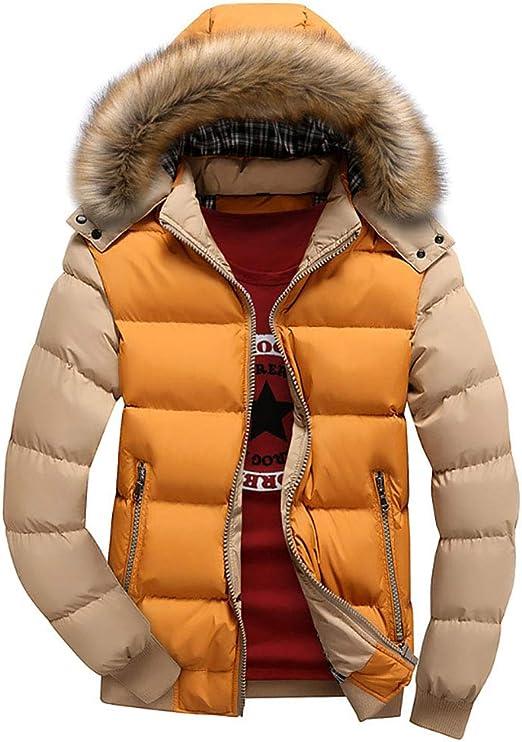 メンズカジュアルシックフェイクファーカラーフード付きパッド入りパーカー防風防水ジャケット暖かい冬のコート