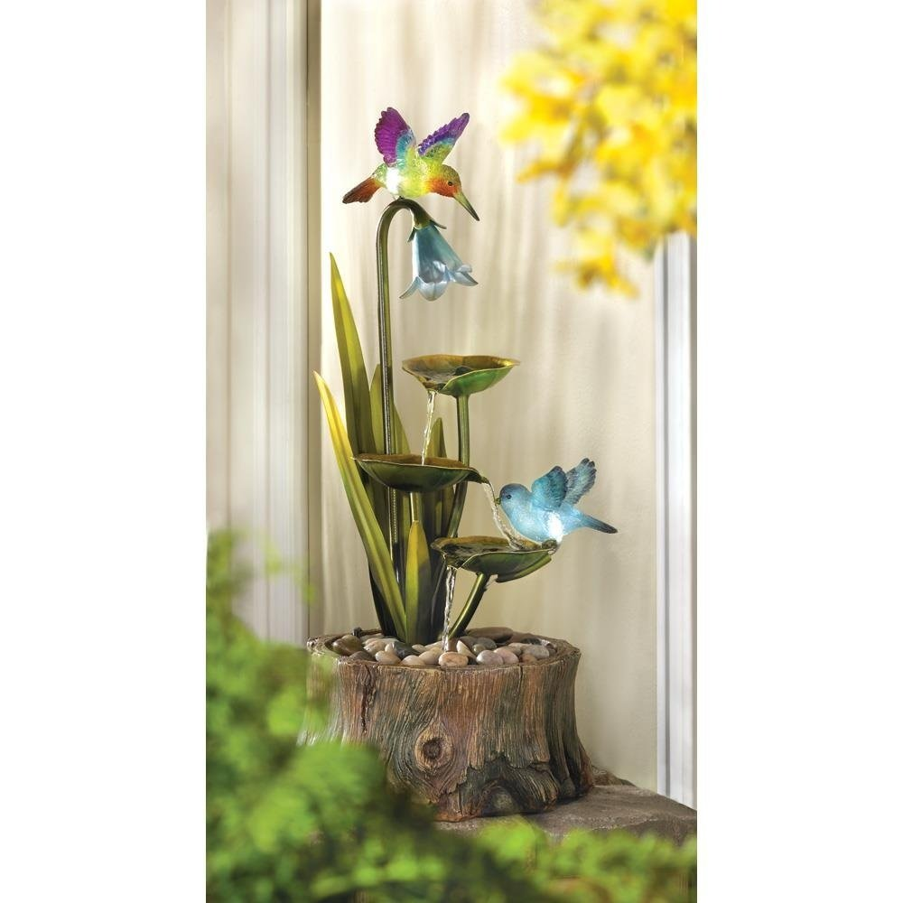 Flower Fountain, Resin Tabletop Water Fountains For Outdoor - Hummingbird